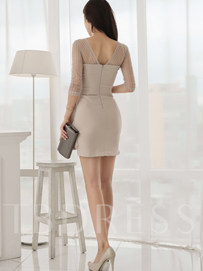 Light Apricot Patchwork Women's Bodycon Dress