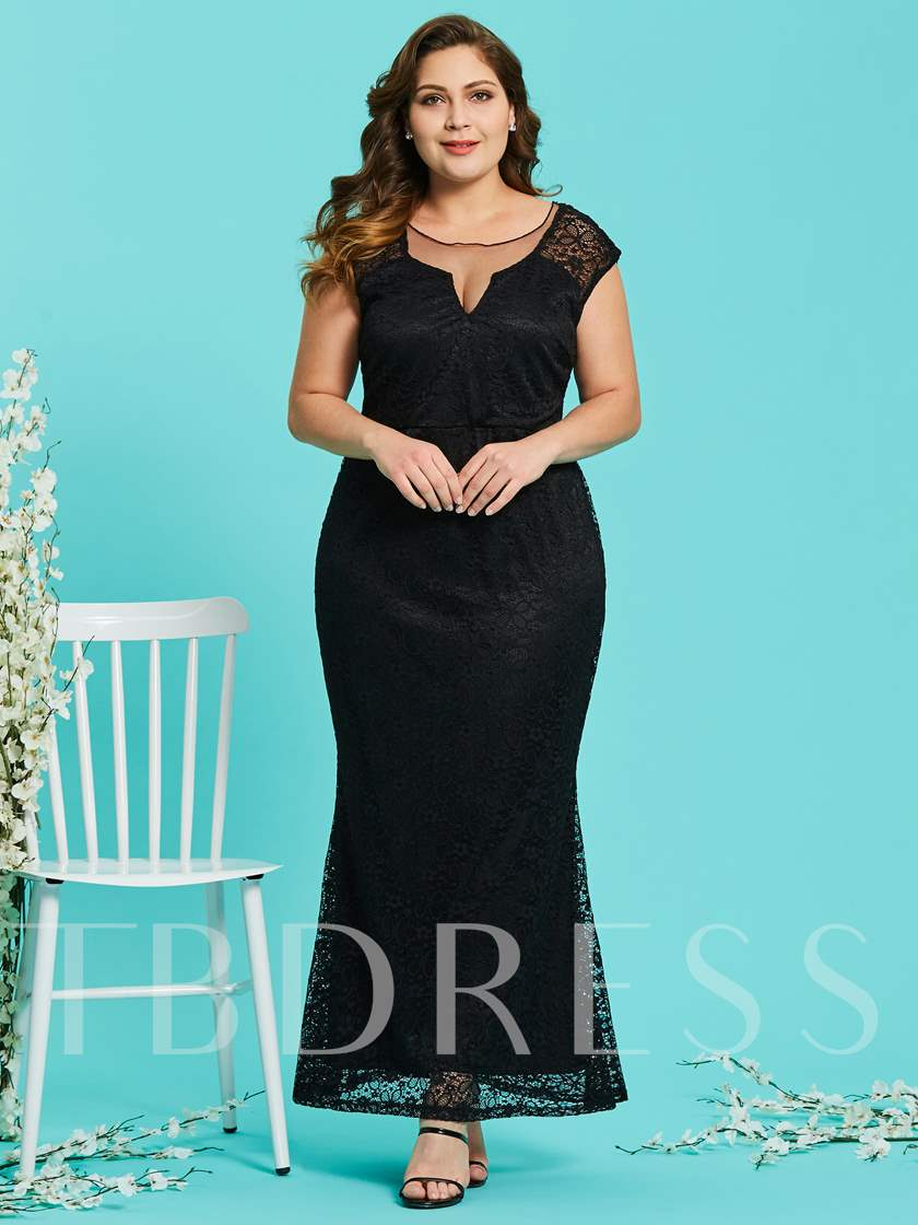 Plus Size Backless Women's Lace Dress