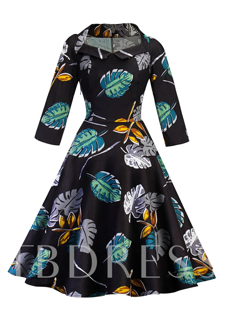 Black Leaf Pattern Women's Day Dress