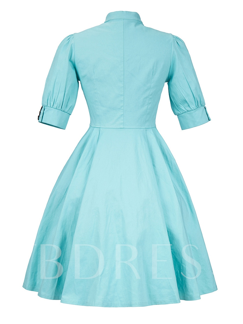 Single-Breasted Light Blue Women's Day Dress
