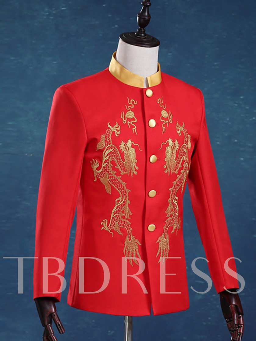 Stand Collar Gold Floral Print Single-Breasted Button Men's Dress Suit