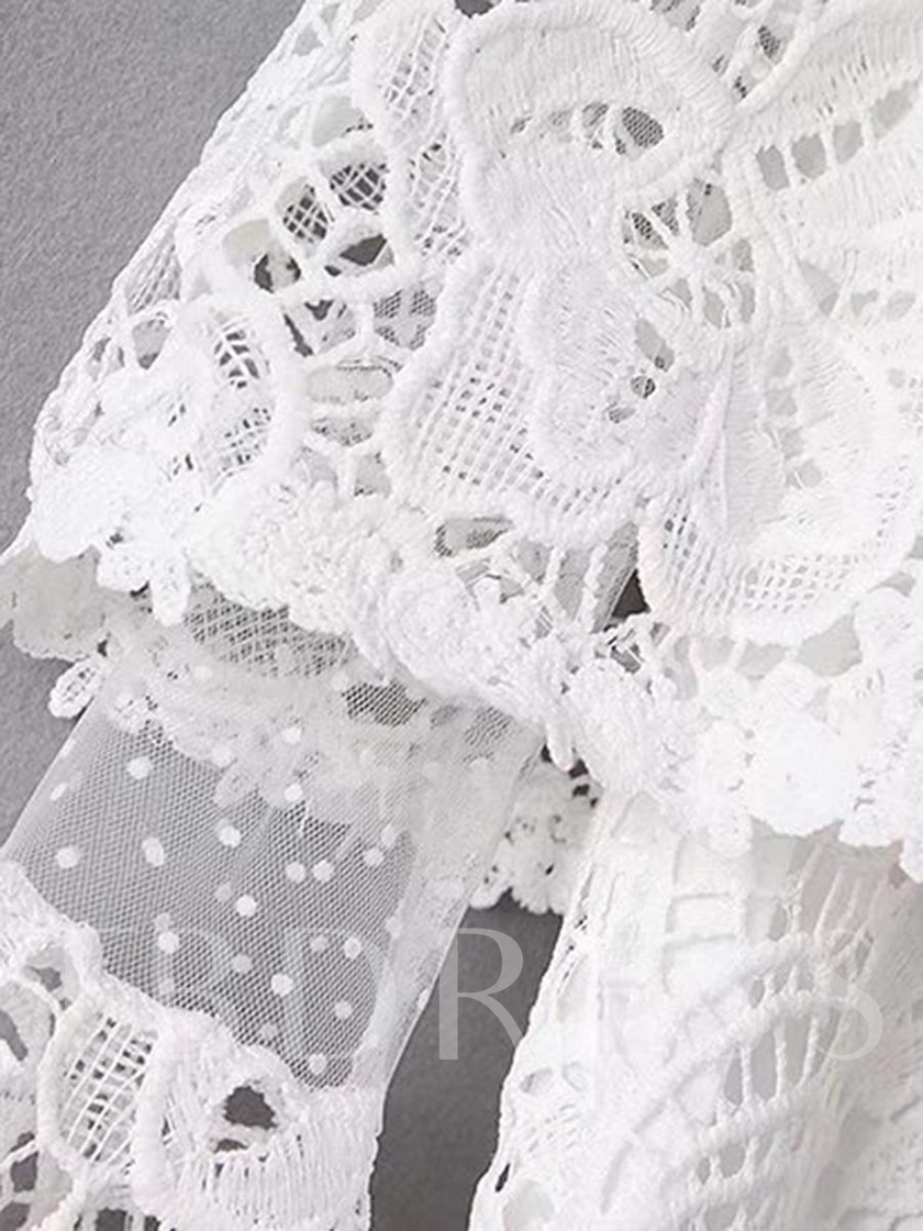 Sheer Lace Mesh Patchwork Women's Blouse