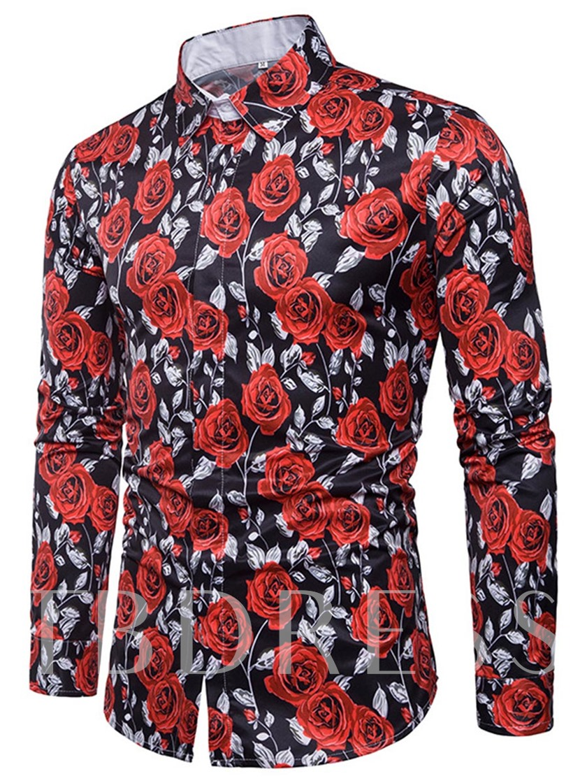 Lapel Rose Print Slim Men's Shirt