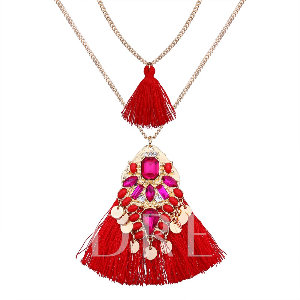 Bohemian Tassel Rhinestone Double Necklace
