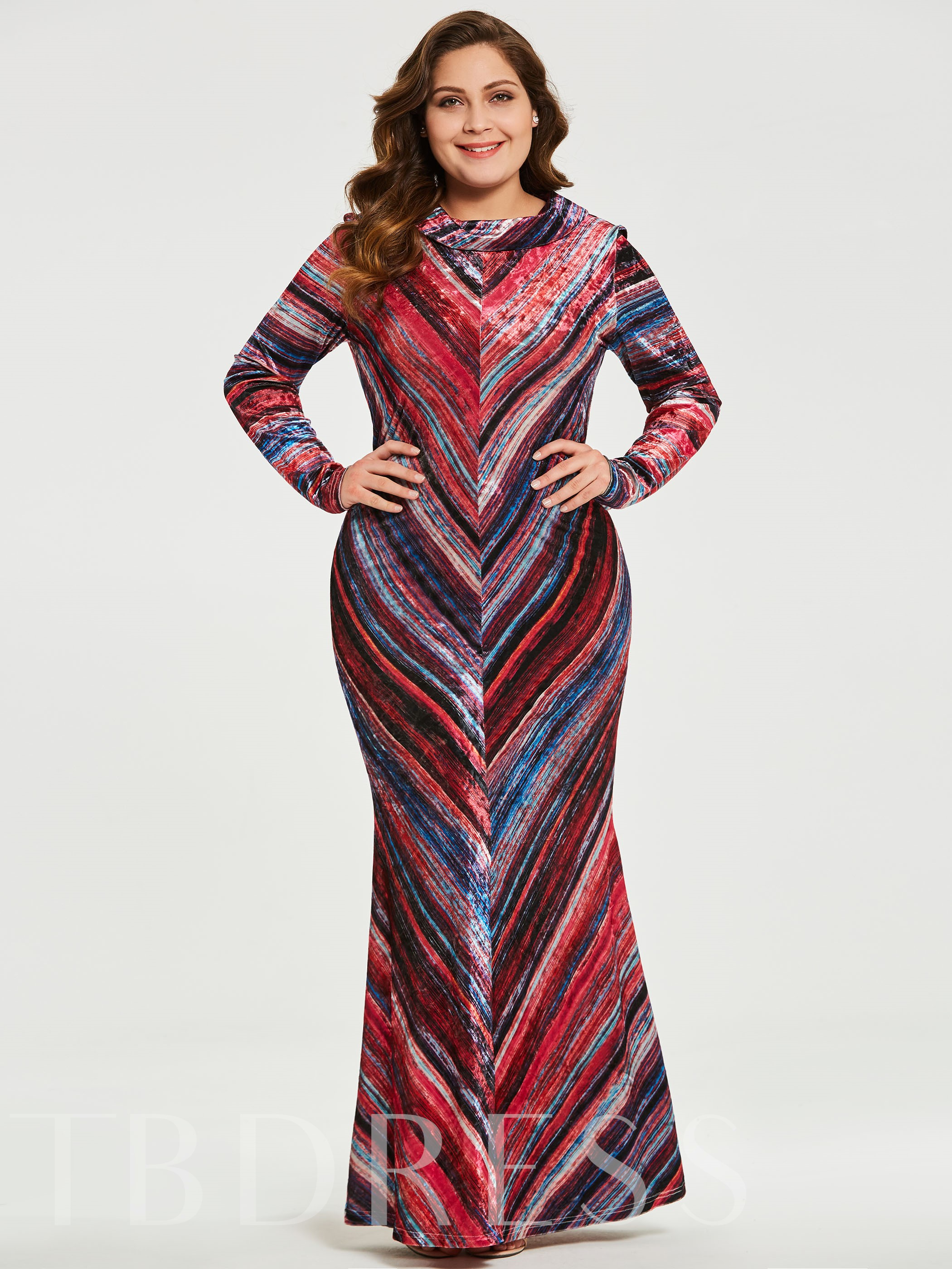 Red Plus Size Striped Women\'s Maxi Dress - Tbdress.com