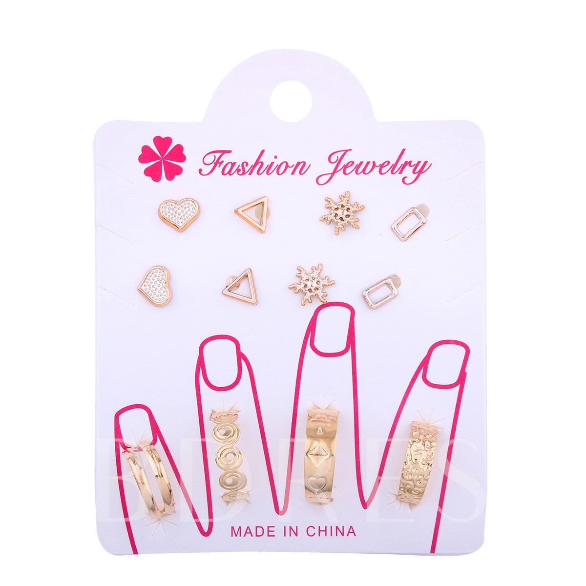 Heart Triangle Snowflake Ring Earring Jewelry Sets