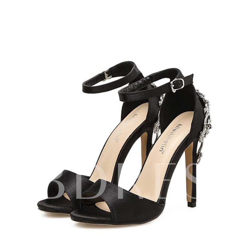 Buy Rhinestone Buckle High Heels Black Sandals Party Shoes for Women, Spring,Summer, 13131518 for $38.99 in TBDress store