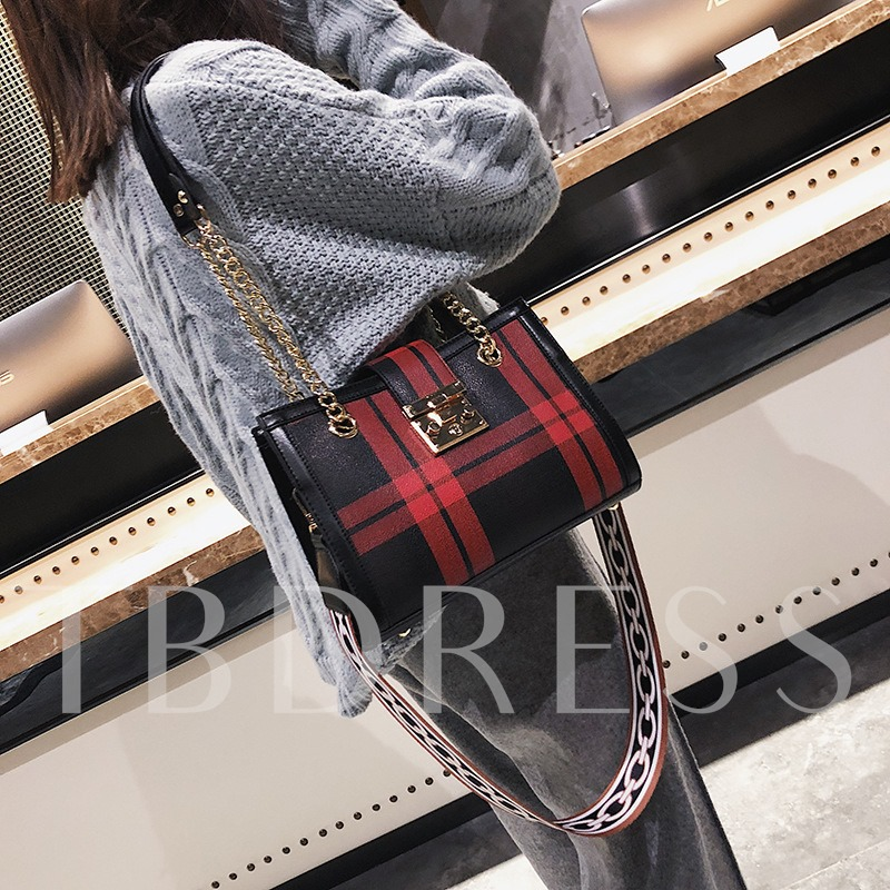 Korean Style Plaid PU Women Satchel