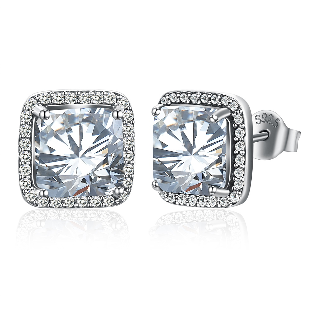 Zircon Inlaid Square S925 Silver Earrings