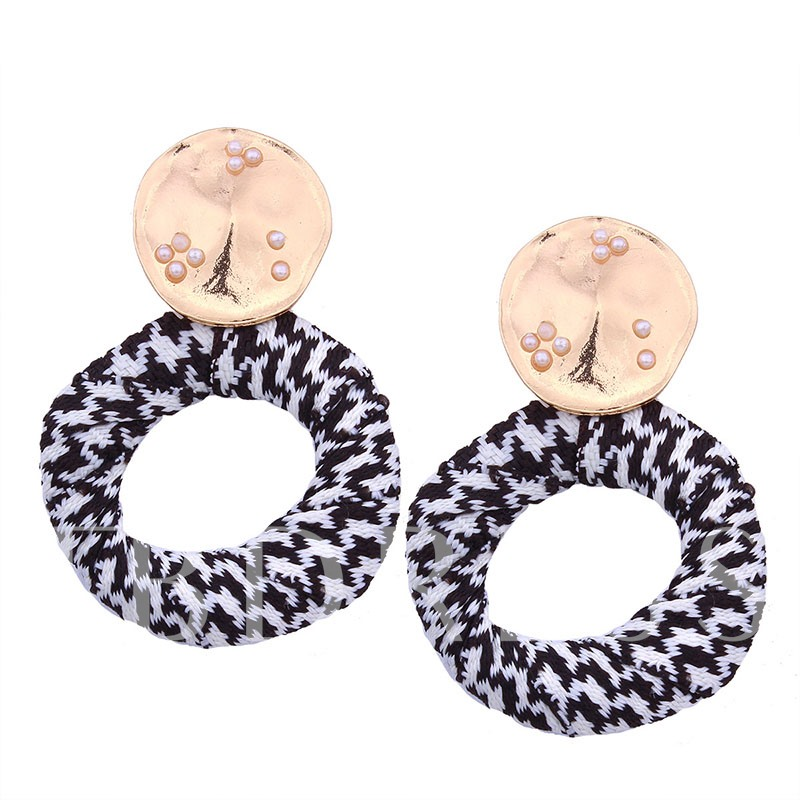 Cotton Imitation Pearl Geometric Earrings