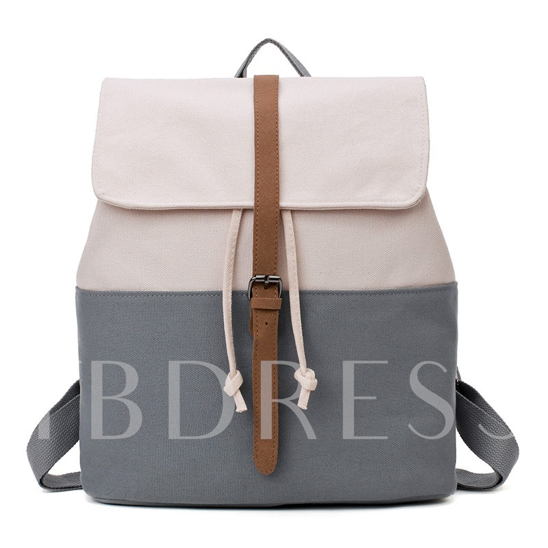 Concise Color Block Canvas Backpack