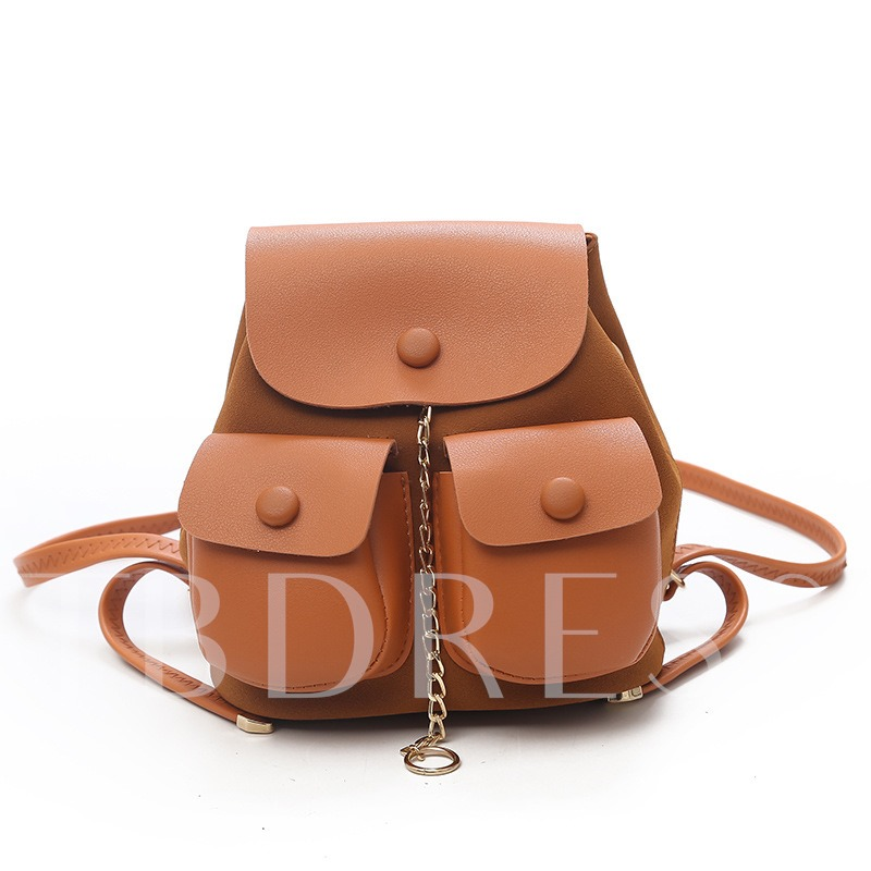 Versatile Solid Color Soft PU Backpack