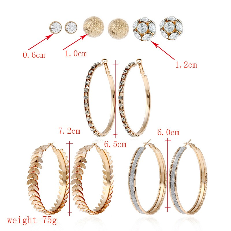 Simple Great Circle Combination Earrings
