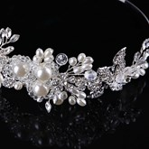 Imitation Pearl Bride Leaf Crown Hair Accessories