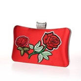Floral Embroidery PU Women Clutch