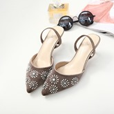 Pointed Toe Rhinestone Floral High Heel Shoes Women's Sandals