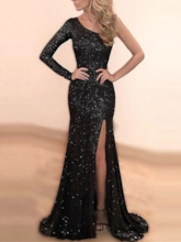 One-Shoulder Mermaid Sequins Split-Front Evening Dress