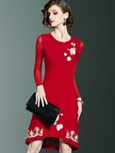 Embroidery Patchwork Women's Sheath Dress