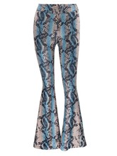 Slim Mid-Waist Patchwork Bellbottom Women's Pants