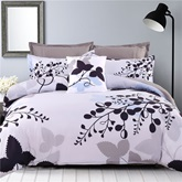 Black Leaves Branches Pattern Cotton 4-Piece Bedding Sets/Duvet Cover
