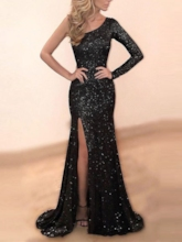 One Shoulder Split-Front Black Sequins Evening Dress 2019