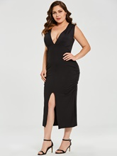 V Neck Plus Size Women's Bodycon Dress