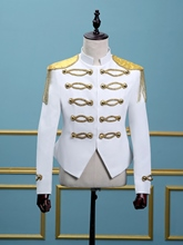 Stand Collar White Gold Tassels Men's Dress Suit