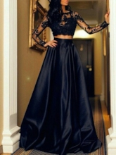 Appliques Long Sleeves Two Pieces Prom Dress