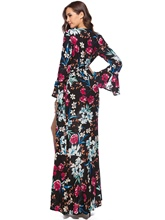 Bell Sleeve Printing Split Women's Maxi Dress