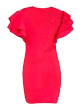 Puff Sleeve Figure Pattern Women's Bodycon Dress