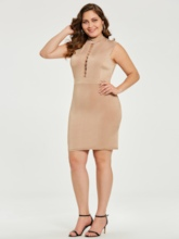 Plus Size Nude Lace up Women's Bodycon Dress