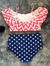 Off-The-Shoulder American Flag Print Plus Size Swimsuit
