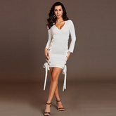 V-Neck Hollow Lace-Up Women's Sheath Dress