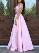 Beading A-Line Short Sleeves Straps Prom Dress