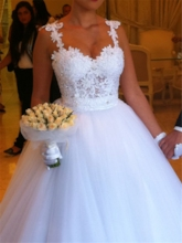 Straps Appliques Beaded Ball Gown Wedding Dress