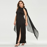 Black Plus Size Split Women's Cape Dress