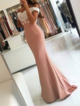 Trumpet Appliques Off-the-Shoulder Sweep Train Evening Dress