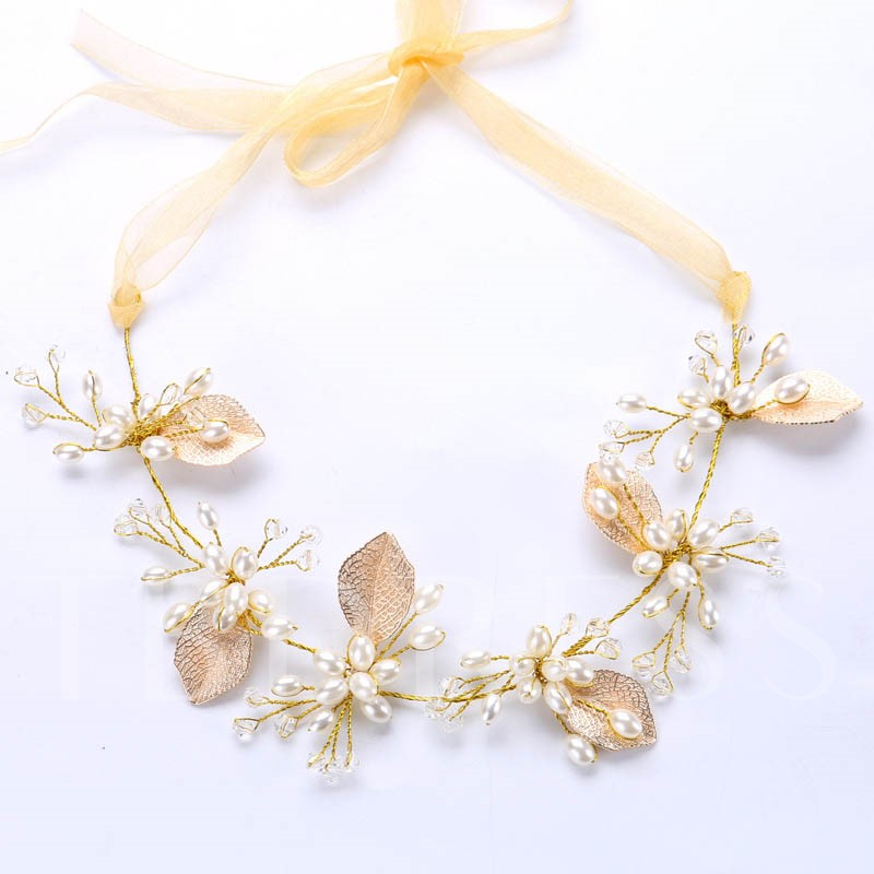Image of Golden Imitation Pearl Leaf Hair Accessories
