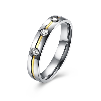 Cubic Zirconia Titanium Steel Couple's Ring