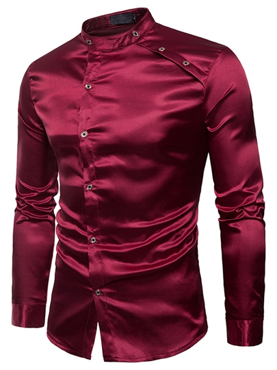 Stand Collar Inclined Button Slim Men's Leisure Shirt
