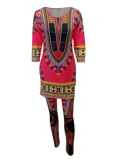 African Dashiki Ethnic Women's Two Piece Set