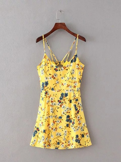 Spaghetti Straps Floral Women's Sexy Dress
