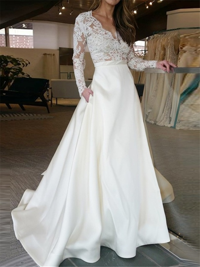 Lace Long Sleeve Wedding Dress with Pockets
