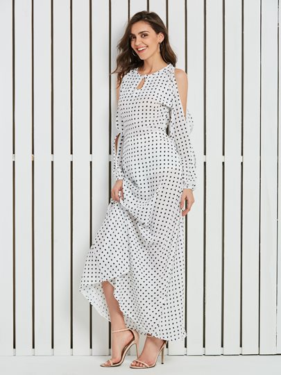 White Polka Dots Cold Shoulder Women's Maxi Dress