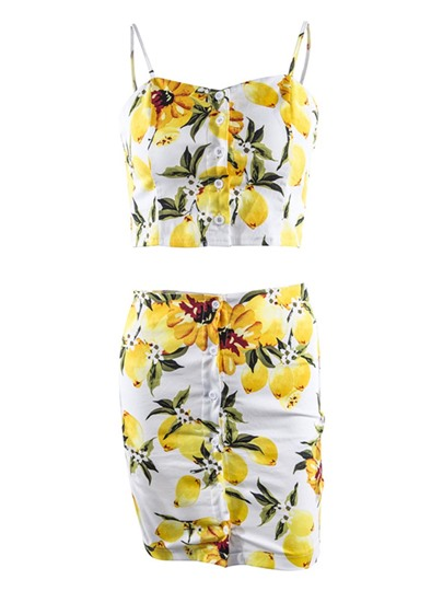 Floral Single-Breasted Short Women's Mini Skirt Suit
