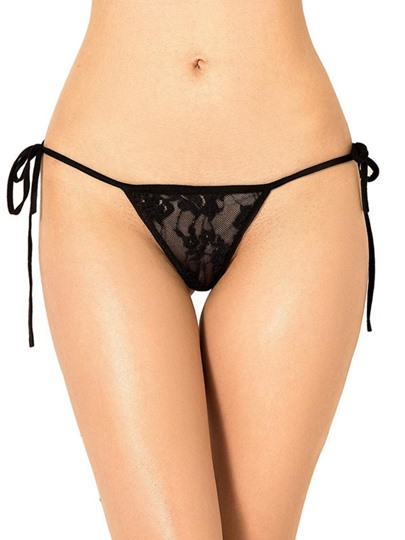 Lace-Up Lace Plain Thong