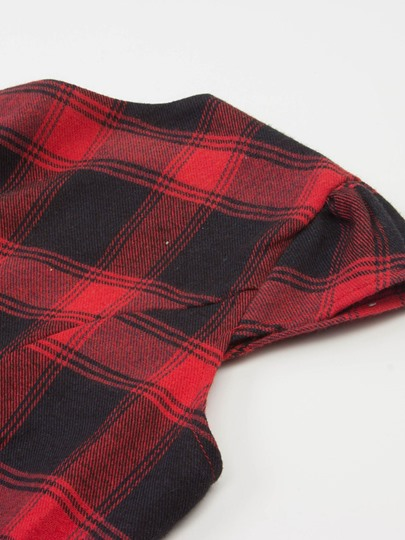 Plus Size Cap Sleeve Red Plaid Women's Day Dress
