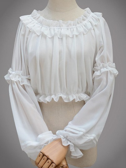 Ruffle Chiffon Long Sleeve Women's Blouse