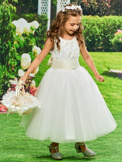 Bowknot Tea-Length Flowers Girls Party Dress