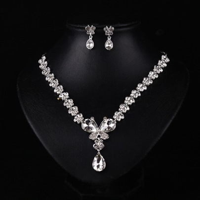 Water Drop Rhinestone Wedding Jewelry Sets